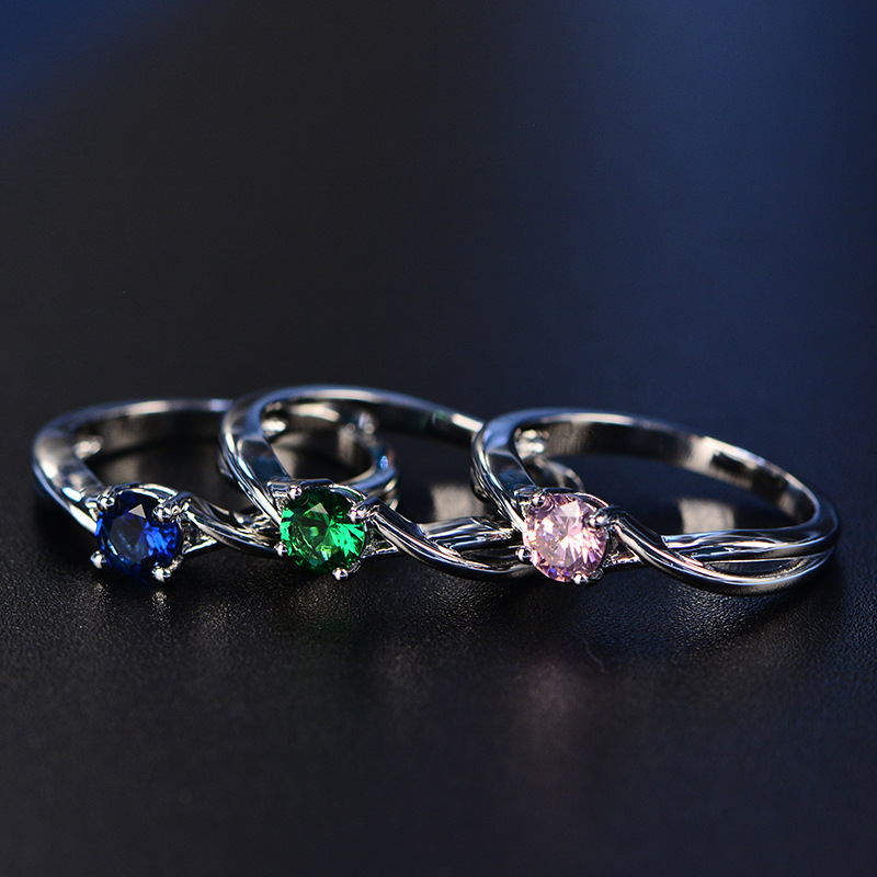 PANSYSEN Fashion 100 Real Sapphire Silver 925 Ring Women s 5mm Round Gemstone Engagement Ring Fine