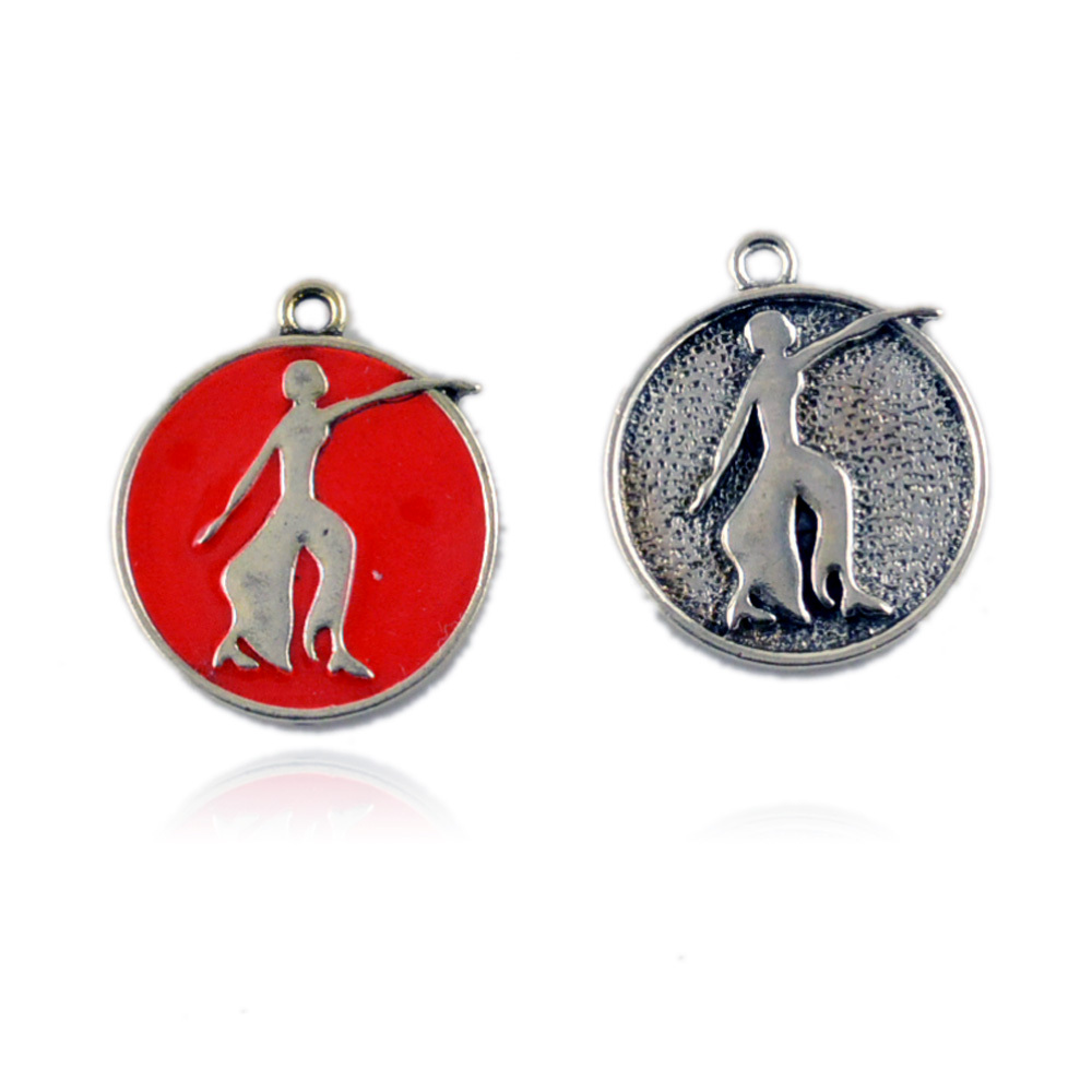 Delta Sigma Theta Round Red Lady Fortitude Charm In Charms From