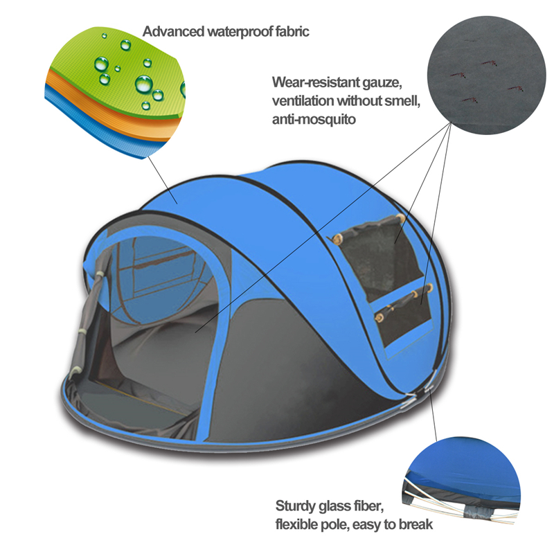 Фотография Indoor and Outdoor 3-4persons Quick Automatic Opening Beach tent Pop up Tent windproof waterproof beach camping tent large space