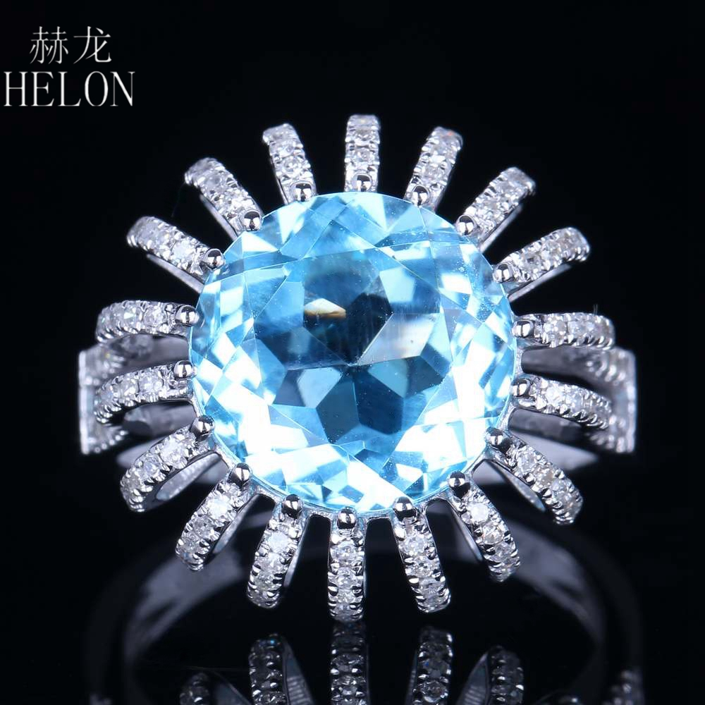 HELON Solid 14K White Gold Fine Jewelry Pave Natural Diamonds Gemstone Ring Round 11mm Blue Topaz 7.4ct Engagement Wedding Ring solid 14k rose round 13mm gold diamond natural blue topaz ring wedding ring hot sale