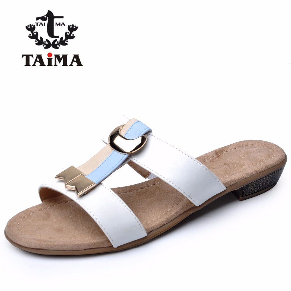 Sandals shoes comfortable - Summer Women Sandals Shoes Comfortable Pu Leather Casual Shoes Woman Beach Sandals Flip Flops Slippers Taima