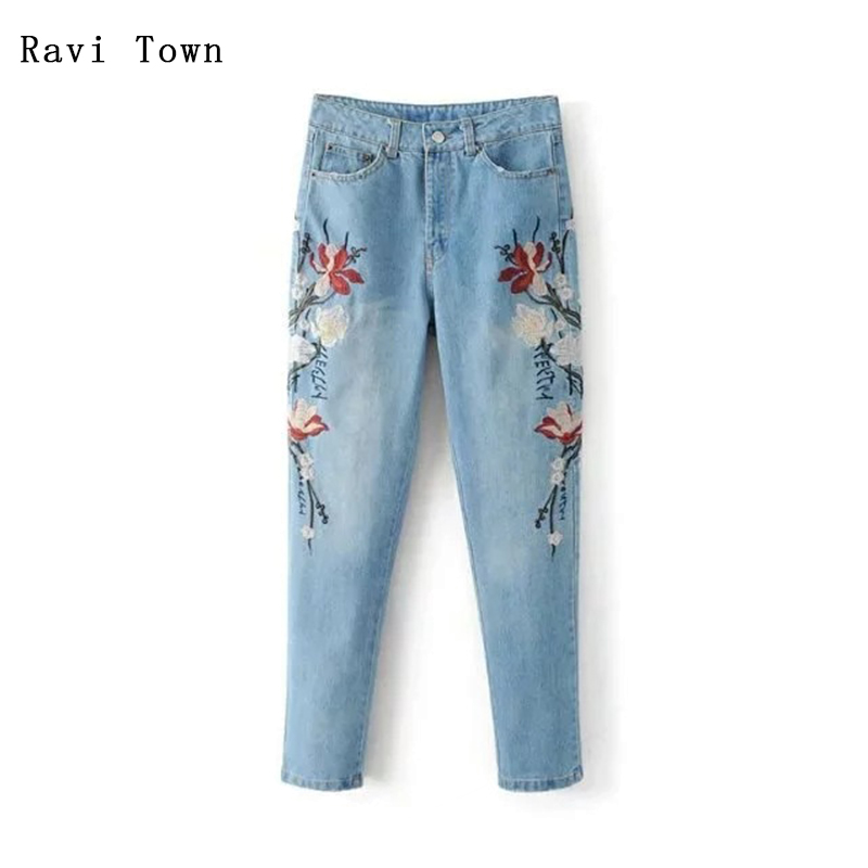Ravi Town Clearance Sale Women Jeans Pant 2017 Fashion Embroidery Women Casual Jeans Light Washed Mid-Waist Ankle-Length Pants venkatachalam deepa parvathi and maddaly ravi anti mitotic polyclonal antibodies for mitotic inhibition