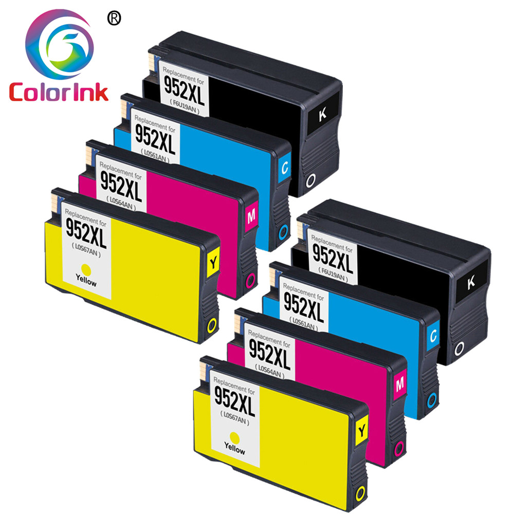 ColorInk 8Pack Ink Cartridge <font><b>952XL</b></font> for HP 952 XL cartridge for HP OfficeJet Pro 7740 8210 8216 8710 8715 8720 8725 8730 8740 INK image