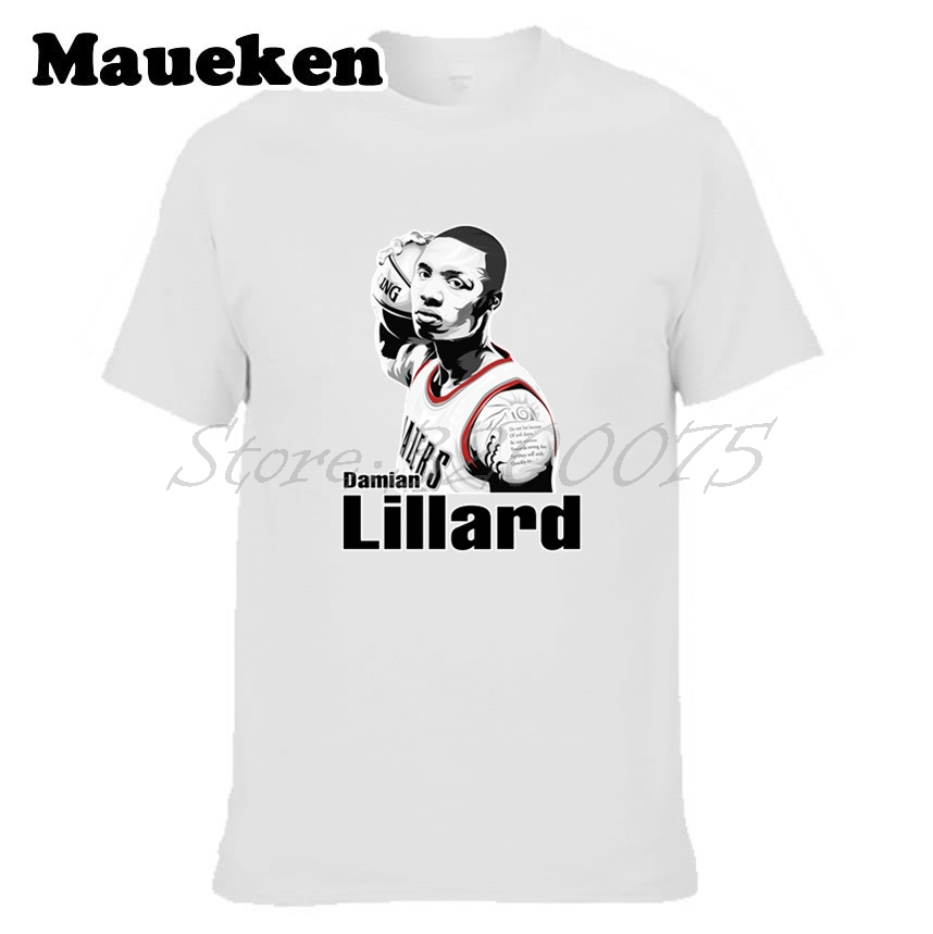 Men Damian Lillard 0 T-shirt Tees Short Sleeve T SHIRT Mens Fashion Portland Star The Core W1108017 ...