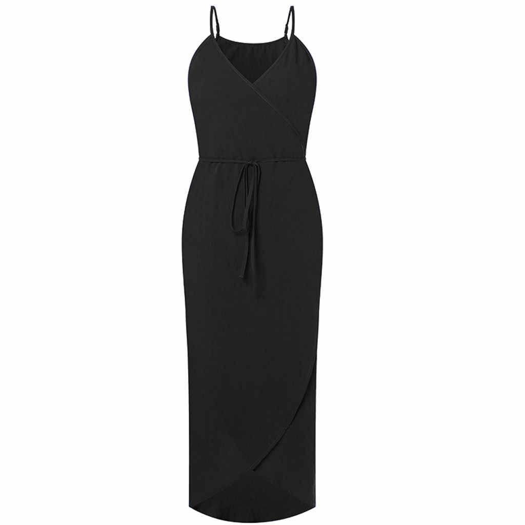 2019 の女性の綿とリネンゆるいドレスカジュアルルースソリッド mid ミッドカーフドレスプラスサイズ 4XL 5XL スパゲッティストラップドレス女性