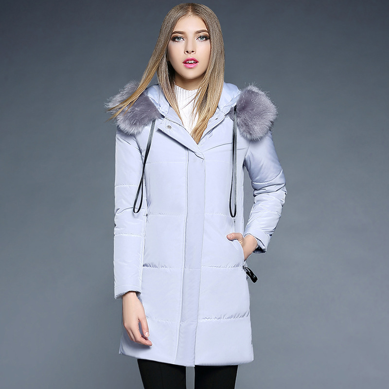 2017 New Winter Women Coat Long Fox Fur Collar Feather Cotton Solid Zipper Slim Thick Pockets Parkas Jacket Outwear Real Sale 2017 winter new clothes to overcome the coat of women in the long reed rabbit hair fur fur coat fox raccoon fur collar