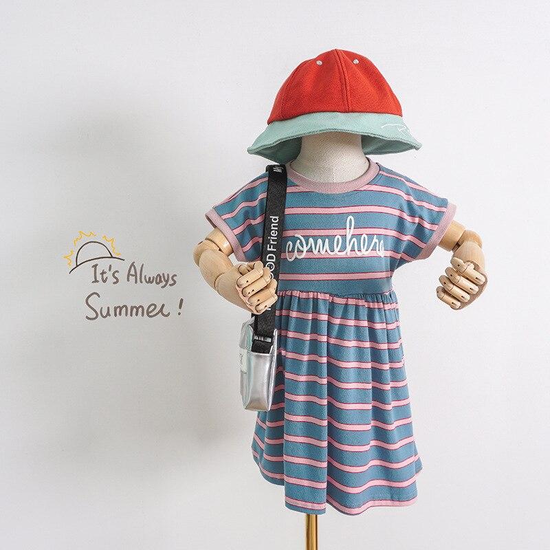 Vestido Da Forma Breve da Menina Crianças Vestido de verão O Pescoço Listrado T-Shirt de Algodão Macio Casual Vestido para As Meninas