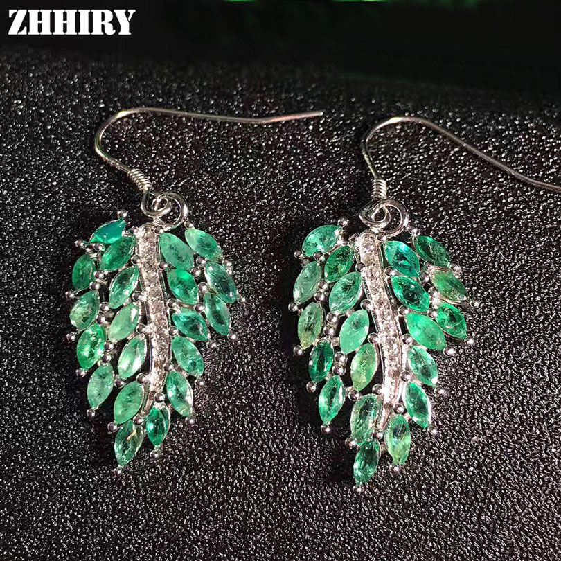 ZHHIRY Women Big Natural Emerald Drop Earrings 925 sterling silver Genuine Gem Stone Fine Jewelry artificial gem rhinestone drop earrings