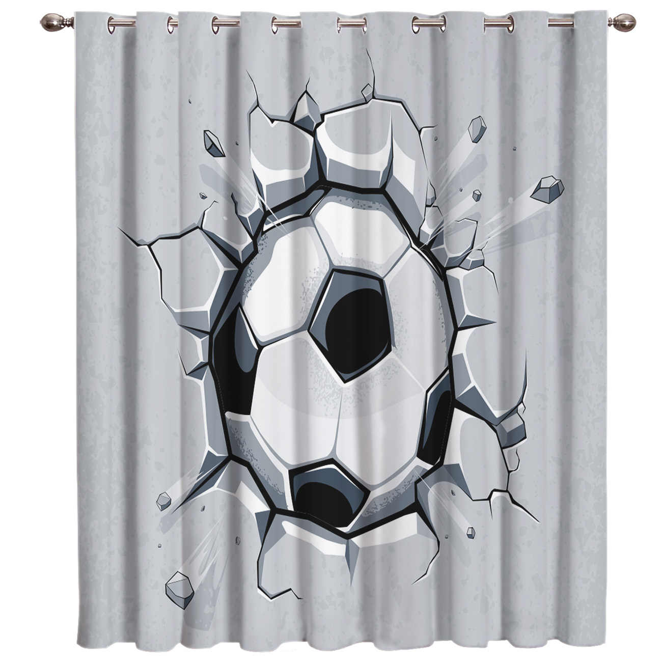 3D Football Crackle Soccer Game Power 3D Window Curtains for Living Room Bedroom Kitchen Cortinas Para Sala De Estar Polyester