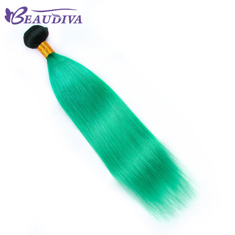 BEAU DIVA Straight TB/Green Color Hair Weaving 1Piece Remy Peruvian Hair Weave Bundles 10-26 inch Free Shipping