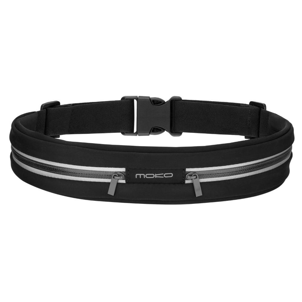 MoKo Sports Running Waist Bag, Outdoor Sweatproof Reflective Waist Belt, Fitness Workout Belt, Runner Belt, Dual Pouch Bag
