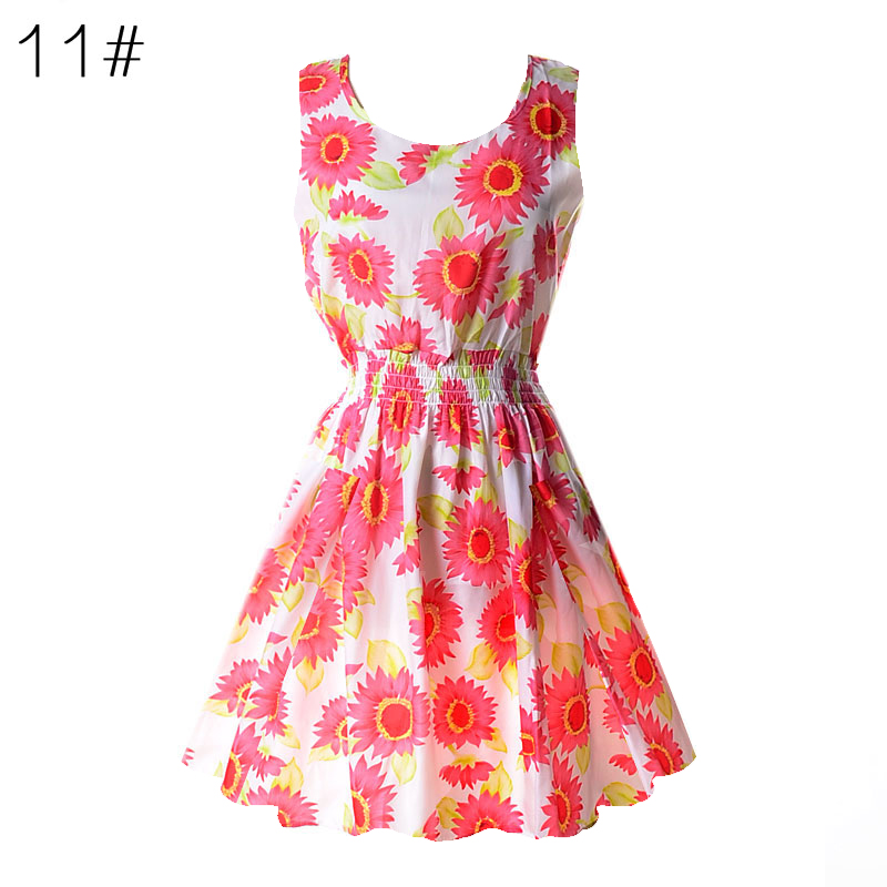Sexy kobiety chiffon dress sundress plaża floral bez rękawów tank mini sukienki vestido 13