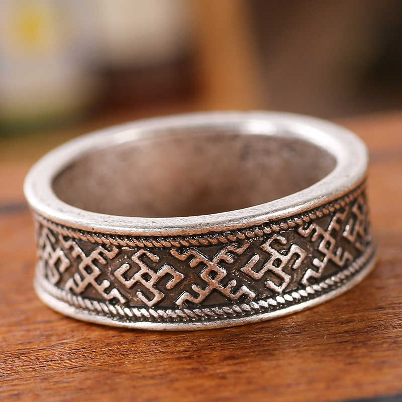 Kesehatan Simbol Kuno Viking Cincin Pagan Norse Slavia Fern Flower Ring Viking Perhiasan