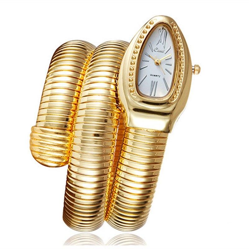 2018 CUSSI Gold Luxury Women's Watch Serpentine Bracelet Fashion Quartz Wristwatches Ladies Watch Snake Clock Reloj Mujer Gifts cussi 49