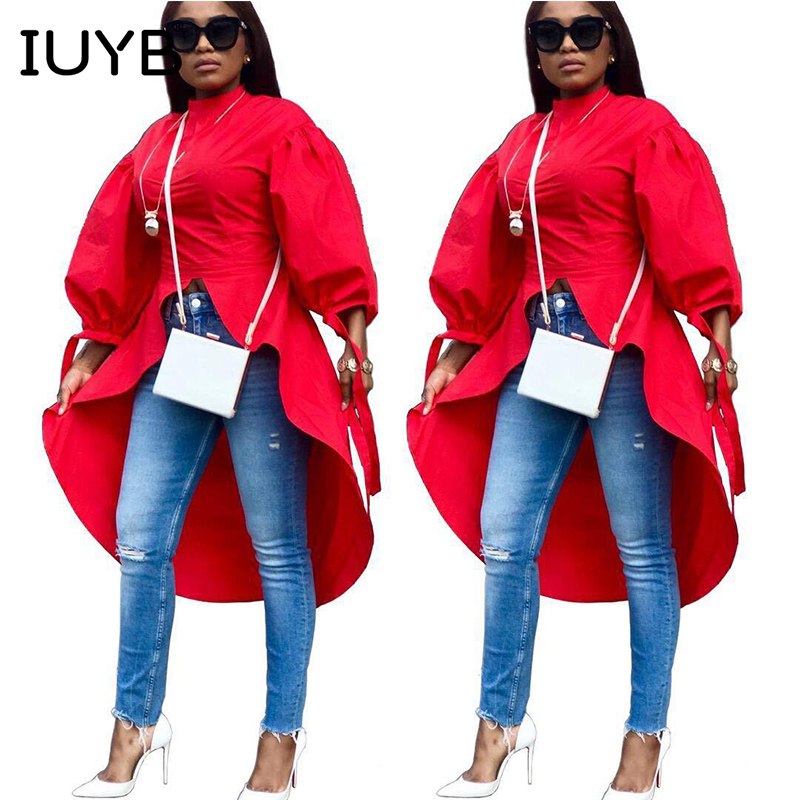 Maxi Fashion Loose Lantern Low Women Ys251 Irregular Blouses Sashes Red Sleeve Solid Clothes Shirts New Turtleneck High Owvq5gp
