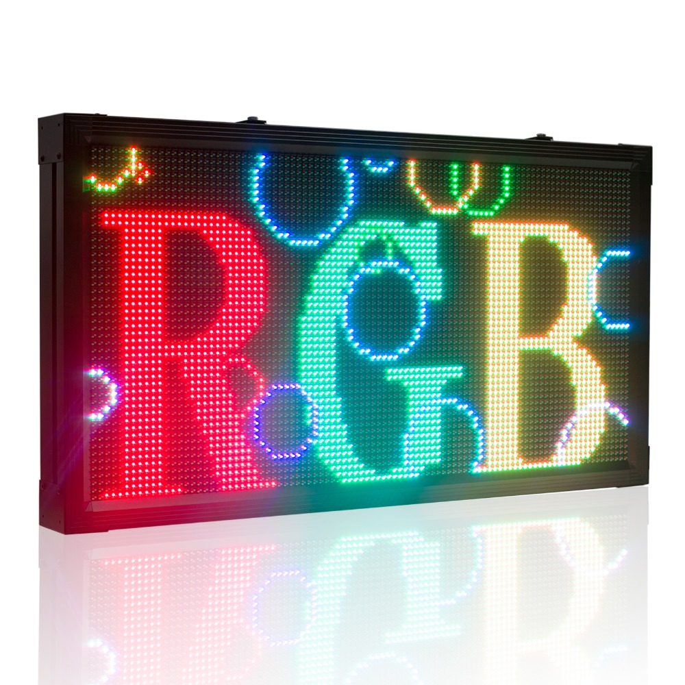 103*55cm RGB Full Color P10mm Custom Multi-line Outdoor Waterproof LED Message Sign Moving Scrolling Led Display Board For Shop