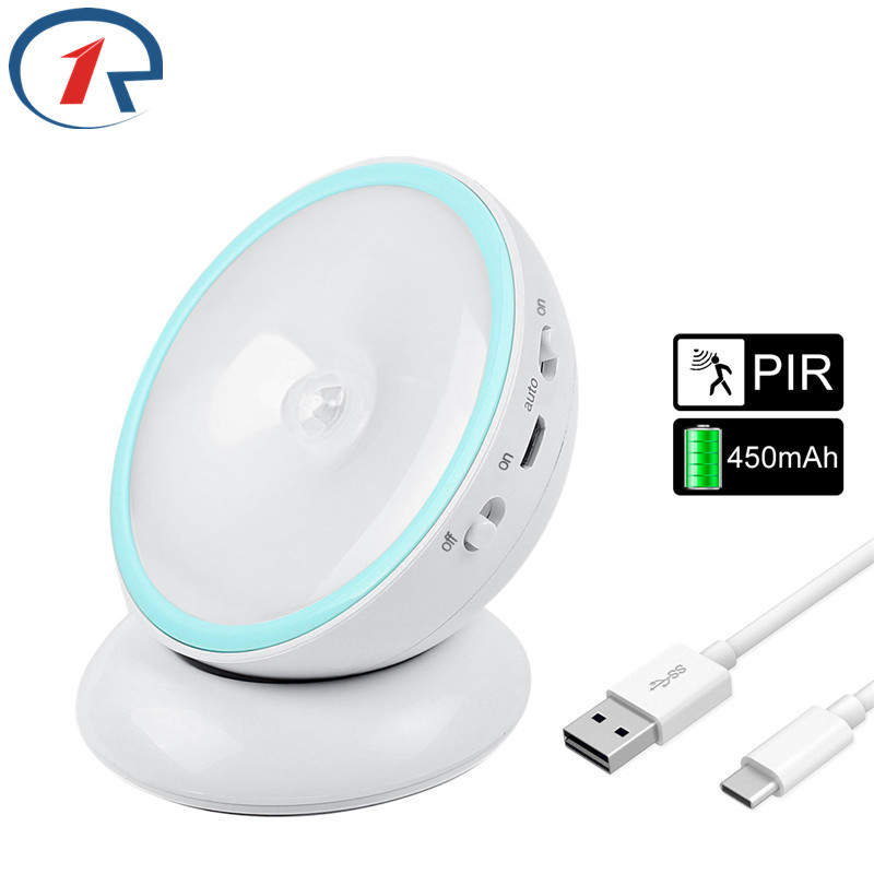 ZjRight 5LED PIR Body Motion Sensor Activated table lamp Night Light Induction Closet Corridor Cabinet Indoor lighting moon lamp led pir body automatic motion sensor wall light sensor night light usb rechargeable induction lamp for closet bedrooms