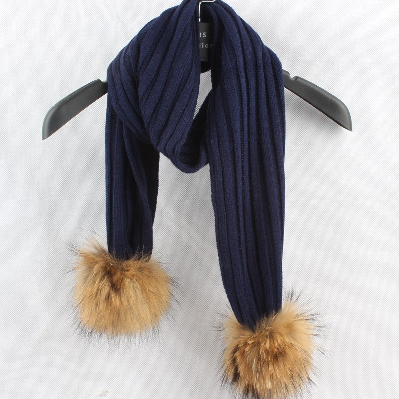 2017 New Crochet Children Scarf Wool Knitted Winter Fur Scarves With Detachable Real Raccoon Fur Pom
