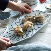 1pc Geometric Ceramic Dinner Plate Japanese Style Fish Dishes Pasta Plate Porcelain Dish Lotus Dinnerware