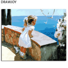 DRAWJOY Framed Wall Art Pictures Painting By Numbers Of Little Girl DIY Canvas Oil Painting Home Decor For Living Room GX8102(China)