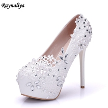Fashion Lady White Wedding Shoes Bridesmaid Bridal Shoes Rhinestone Lace Flower Shoes Thin High Heels Women Pumps XY-A0019 new arrival women s beading lace flower wedding pumps high heels bridal bridesmaid s shoes white ivory banquet shoes 1541 jj
