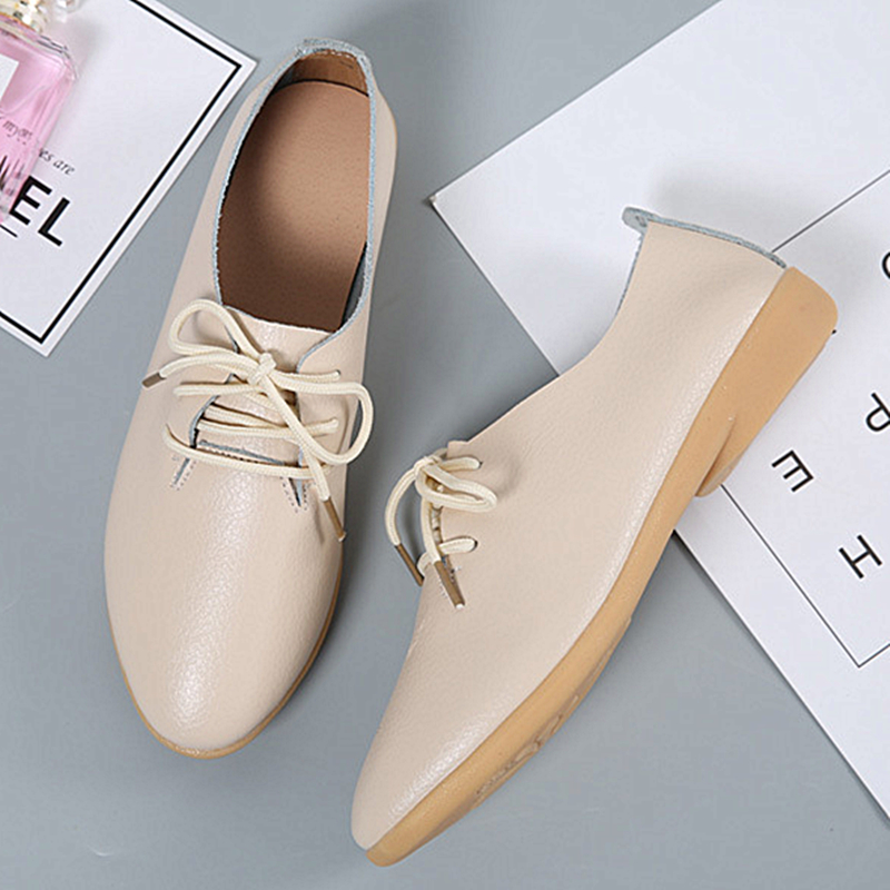 Image 5 - DONGNANFENG Women Ladies Female Mother Leather Shoes Flats Loafers Cow Genuine Leather Pigskin Lace Up Moccasins 35 41 XXH 929Womens Flats   -