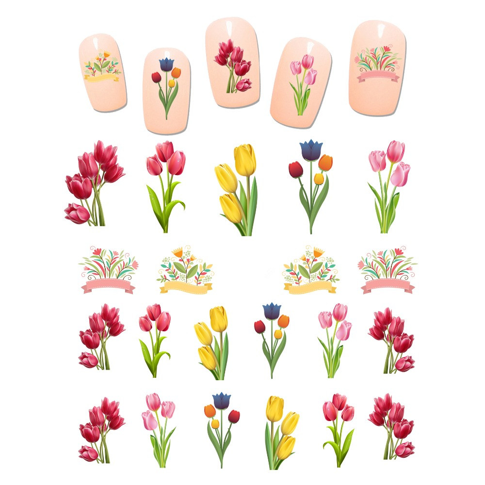 6pcs Tulip Nail Water Decals Colorful Flowers Transfer Sticker Floral Windmill Slider Stickers Manicure Nail Art Decoration art