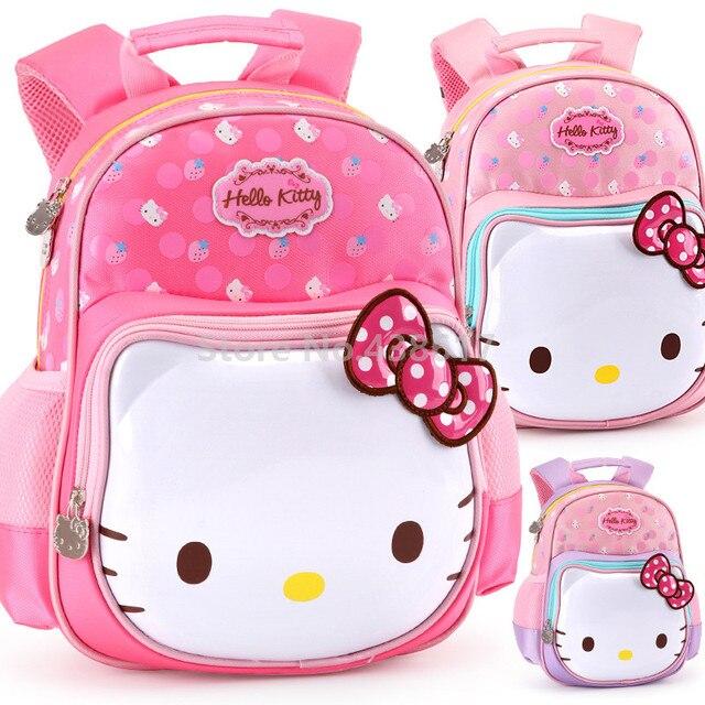 Cute Sweet Pink Purple Rose Hello Kitty Backpack School Bags for Children  Girls Kids Kindergarten Preschool School Toddler Bag f24b43c64f42e