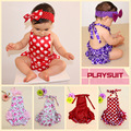 New Baby Girls Dots Rompers Ruffles Summer Halter Party Clothing Candy Color Sweet Toddler Baby Romper