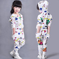 Girls Autumn Print Clothing sets 2 pieces Hoodies Pants Kids suits Children Sport suits White Tracksuits Spring Clothes