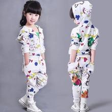Otoño de las muchachas Que Arropan la Impresión 2 unidades Sudaderas Pantalones Niños Chándales de Los trajes Del Deporte trajes Blancos Ropa de Primavera