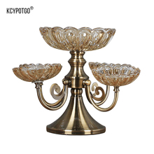 2 tier Crystal glass fruit dish for Suitable living room coffee table display candy dishes