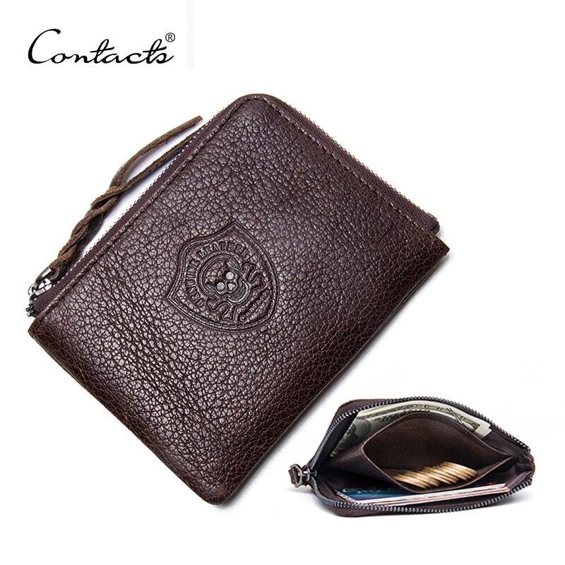 CONTACT'S Geldbörse Aus Echtem Leder Männer Frauen Casual Solide Geldbörsen Reißverschluss Platz Kleine Walet Mit Mehr Karte
