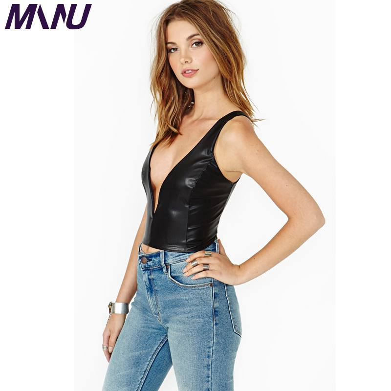 13b98b658c411 Feminino PU Leather Crop Tops Black Sexy Deep V neck Women s Clothing Plus  Size 5XL 6XL 7XL Tank Cropped Tops 2017-in Tank Tops from Women s Clothing  on ...