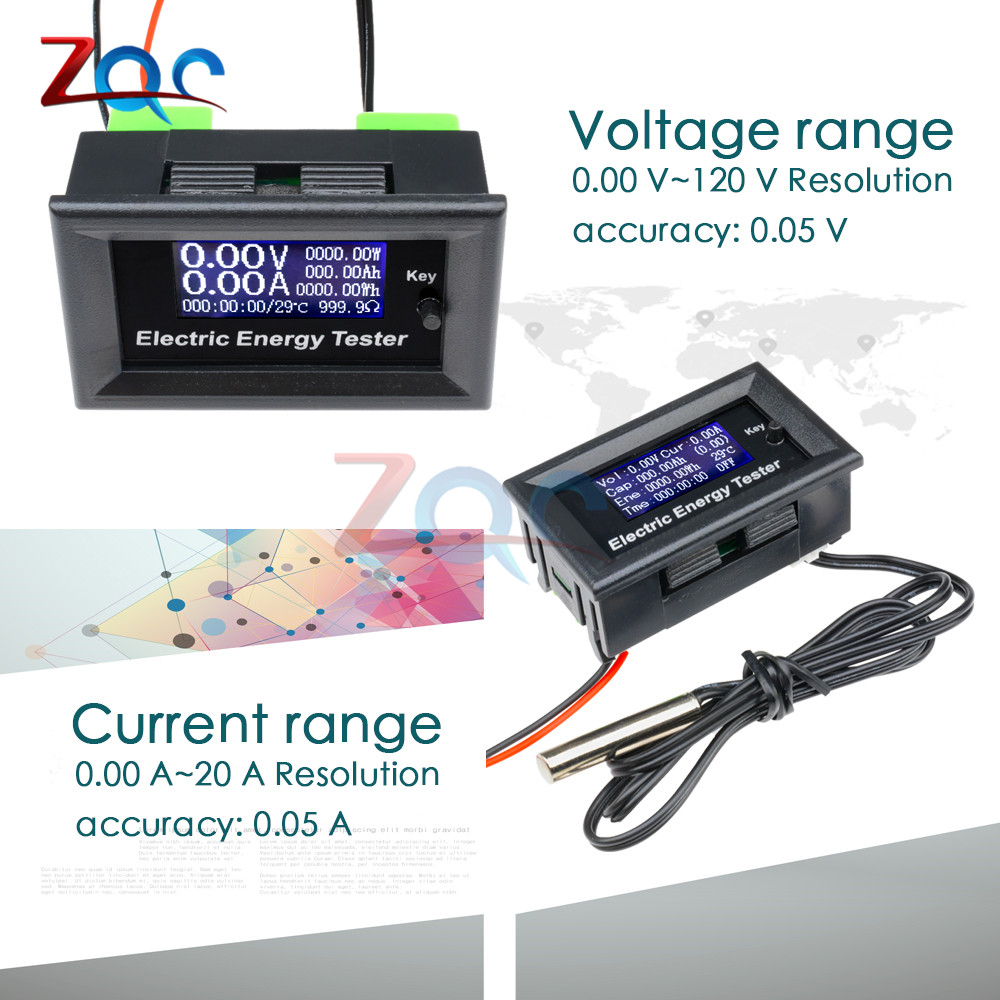 DC 120V 20A LCD Display Voltmeter Monitor Current Voltage Meter Ammeter Power Energy Capacity Impedance Multifunction Tester DC 120V 20A LCD Display Voltmeter Monitor Current Voltage Meter Ammeter Power Energy Capacity Impedance Multifunction Tester