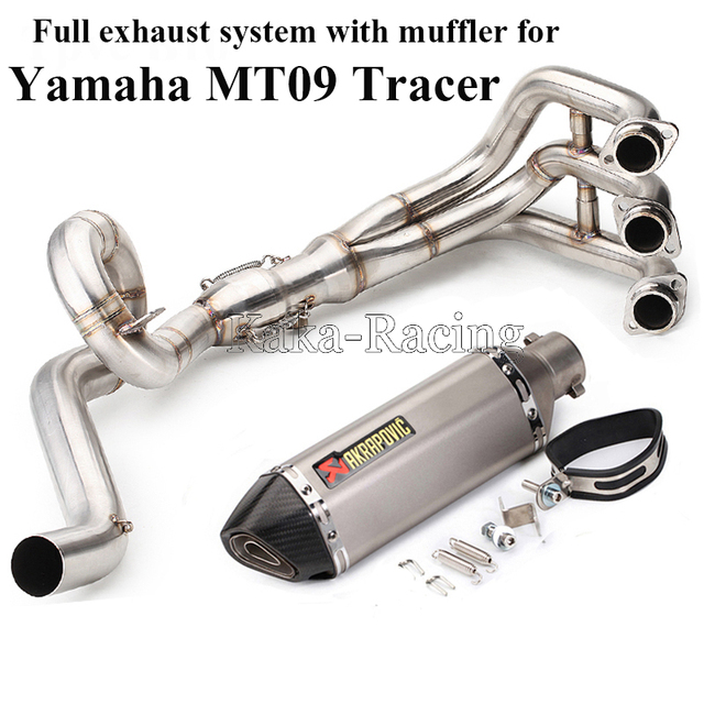 MT-09 MT09 tracer Motorcycle Exhaust Muffler full System Front Link Pipe Akrapovic Muffler Escape For Yamaha MT09 FZ09 2014-2018