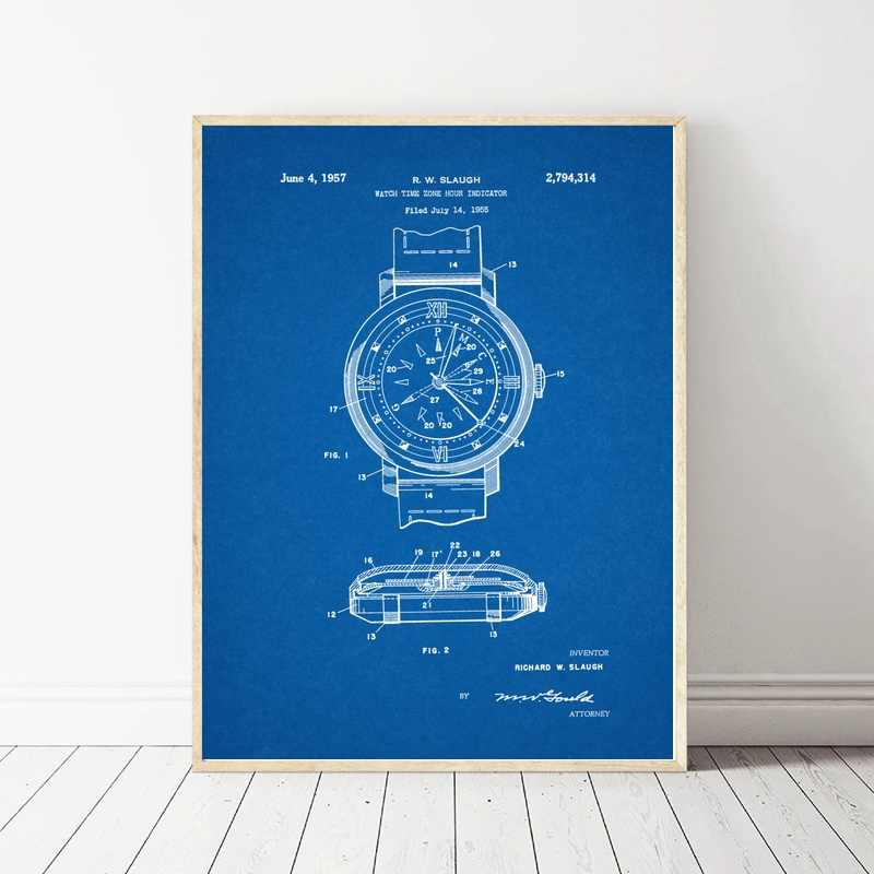 1955 Watch Time Zone Hour Patent Art Silk Fabric Poster