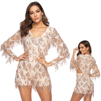 Sequin Playsuit Long Sleeve Sexy Gold Fringe Tassel Jumpsuit Bodysuit Sequin Women New Deep V Club Party Jumpsuit Short Bodycon