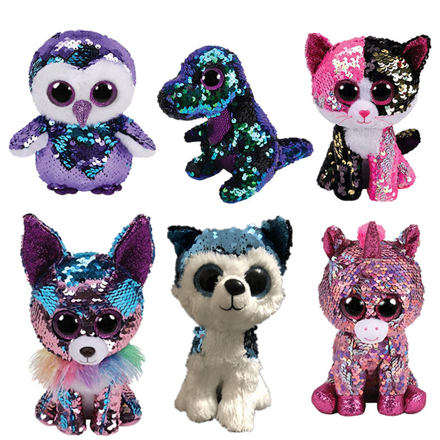 c9a9aa05bab 15CM Ty Beanie Boos Ty Flippables Sequin Cat Husky Dinosaur Unicorn  Flamingo Plush Reindeer Stuffed Animal Doll Big Eye Kids Toy