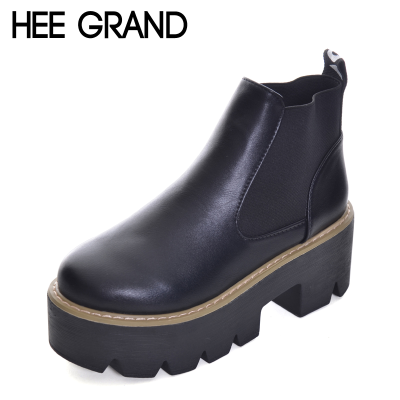 HEE GRAND Women Oxfords Shoes Thick Heel Non-slip Bottom Fashion Boots Woman British Style Footwear XWX6276 short boots woman the fall of 2017 a new restoring ancient ways british wind thick boots bottom students with martin boots