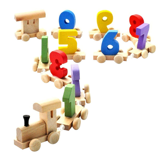 Wooden Number Train for Early Education
