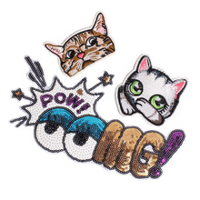 Anime Rainbow Cat Eye Emoji Patch Iron On Cartoon Sequin Patches For Clothes Jacket DIY Kids Cute Embroidered Stickers