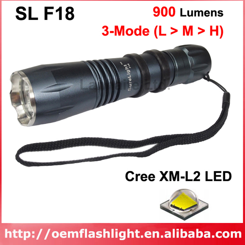 SL <font><b>F18</b></font> Cree XM-L2 Warm White 3000K / Neutral White 4500K / White 6500K 1000 Lumens 3-Mode P60 LED Flashlight - Black (1 pc) image