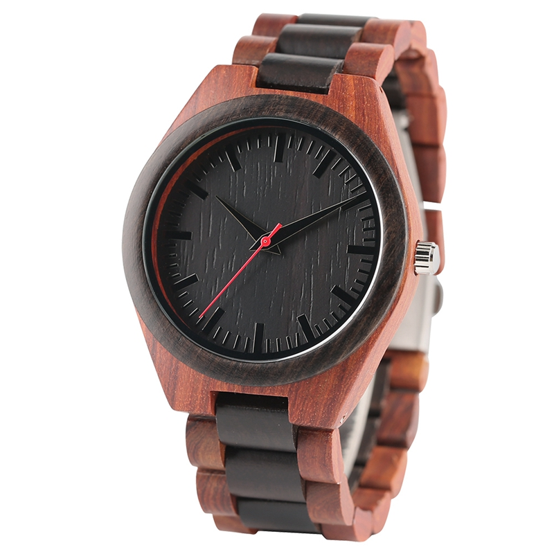 YISUYA Men's Ebony Wooden Watch Wood Strap Quartz Analog Creative Wristwatch Simple Nature Bamboo Male Watches Clock saat (2)