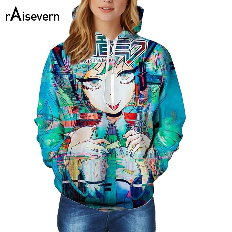 Raisevern Hot Hatsune Miku Design 3D Hoodies HD Pattern Full Printed Women Men Unisex Hooded Sweatshirts Plus Size Dropship