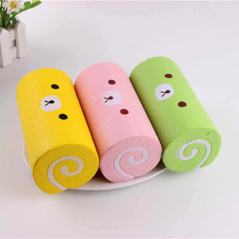 Ibloom Cake Roll Squishy : 15cm Jumbo Slow Rising Bear Swiss Cake Roll Squishy Soft Simulation Bread Kids Squeeze Toy ...