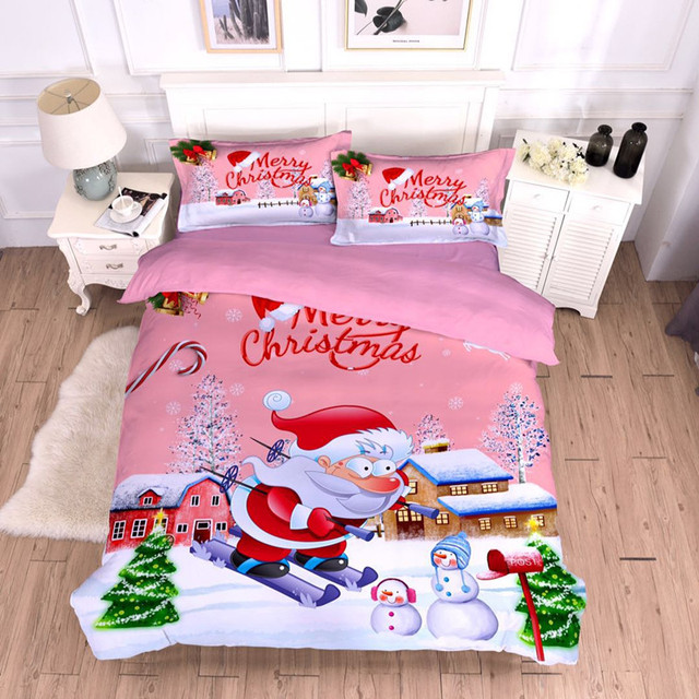 Fanaijia Christmas Bedding Sets Twin Size Cartoon Kids Duvet Cover Set With Pillow Case Queen