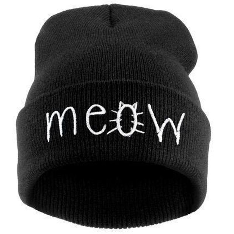 free shipping 100PCS/LOT Fashion MEOW Cap Men Casual Hip-Hop Hats Knitted Wool Skullies Beanie Hat Warm Winter Hat for Women wool skullies cap hat 10pcs lot 2289