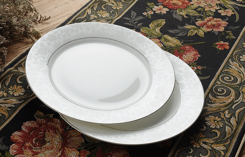 8 Inch White Bone China Dinner Plates Enamel Fruit Dish