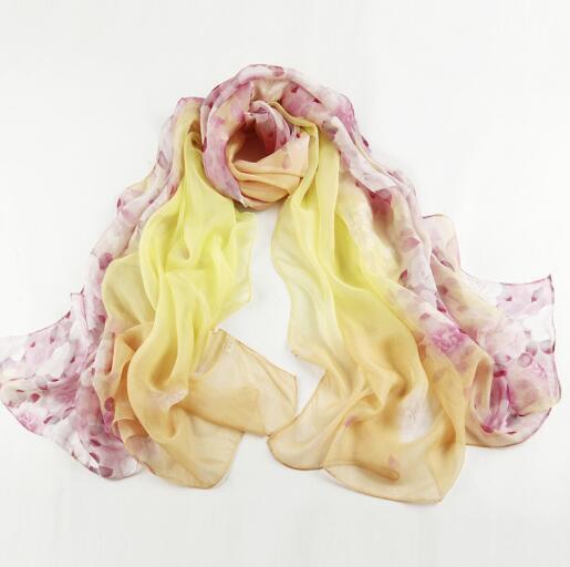 Primavera Verano bufanda de seda real para mujeres flor impresión gran chal de alta calidad